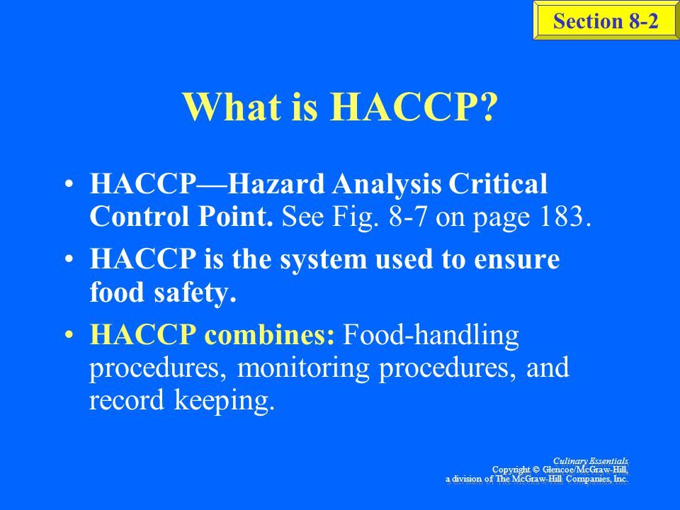 The HACCP System Section 8-2