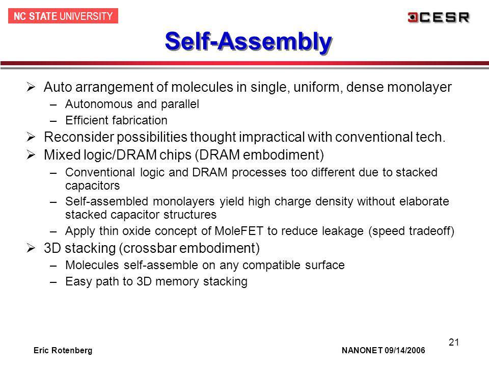 NC STATE UNIVERSITY Eric Rotenberg NANONET 09/14/2006 21 Self-Assembly Auto arrangement of molecules in single, uniform, dense monolayer –Autonomous a