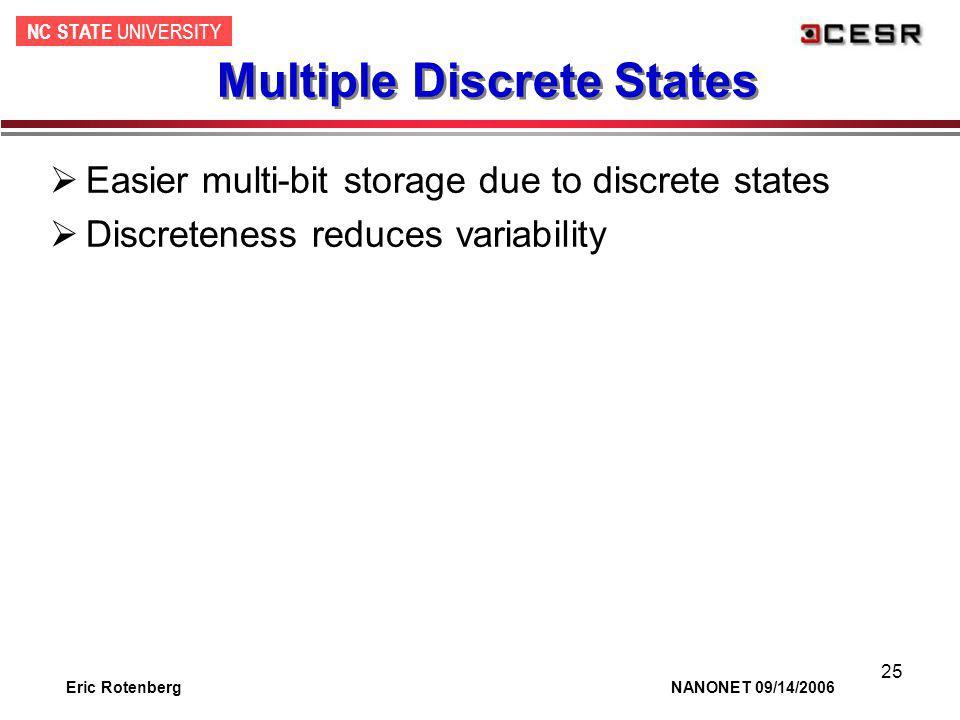 NC STATE UNIVERSITY Eric Rotenberg NANONET 09/14/2006 25 Multiple Discrete States Easier multi-bit storage due to discrete states Discreteness reduces