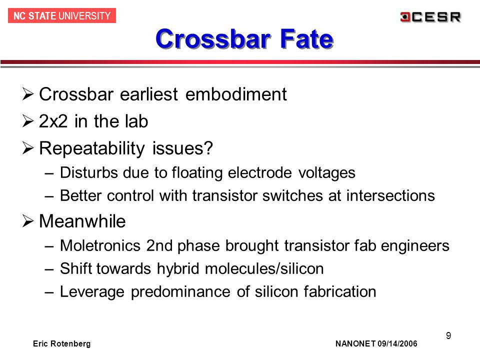 NC STATE UNIVERSITY Eric Rotenberg NANONET 09/14/2006 9 Crossbar Fate Crossbar earliest embodiment 2x2 in the lab Repeatability issues? –Disturbs due
