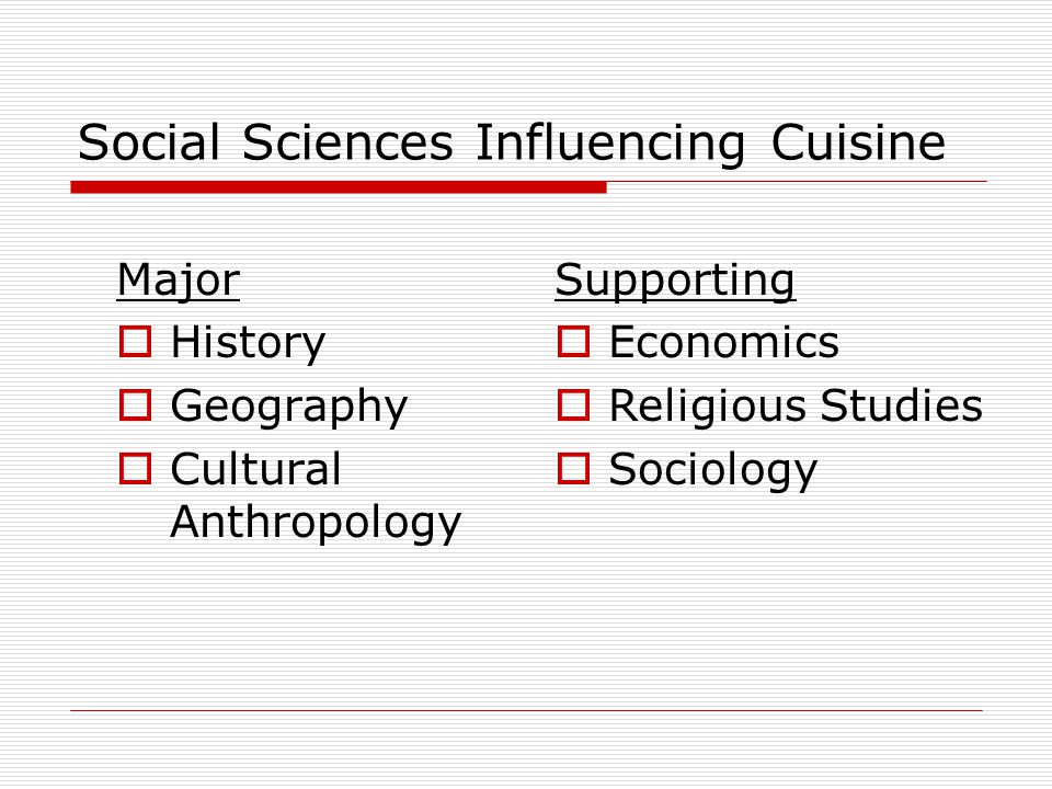 Social Sciences Influencing Cuisine Major History Geography Cultural Anthropology Supporting Economics Religious Studies Sociology