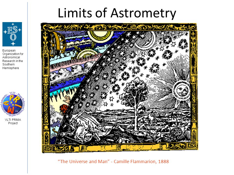 European Organization for Astronomical Research in the Southern Hemisphere VLTI PRIMA Project Limits of Astrometry The Universe and Man - Camille Flammarion, 1888
