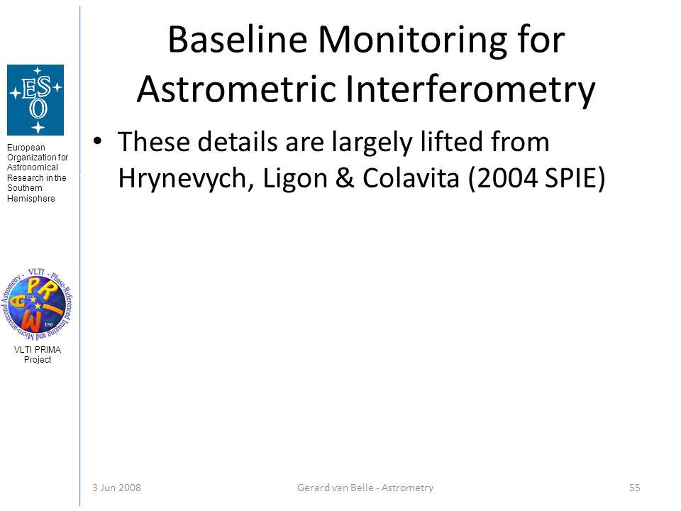 European Organization for Astronomical Research in the Southern Hemisphere VLTI PRIMA Project 3 Jun 2008Gerard van Belle - Astrometry 55 Baseline Moni