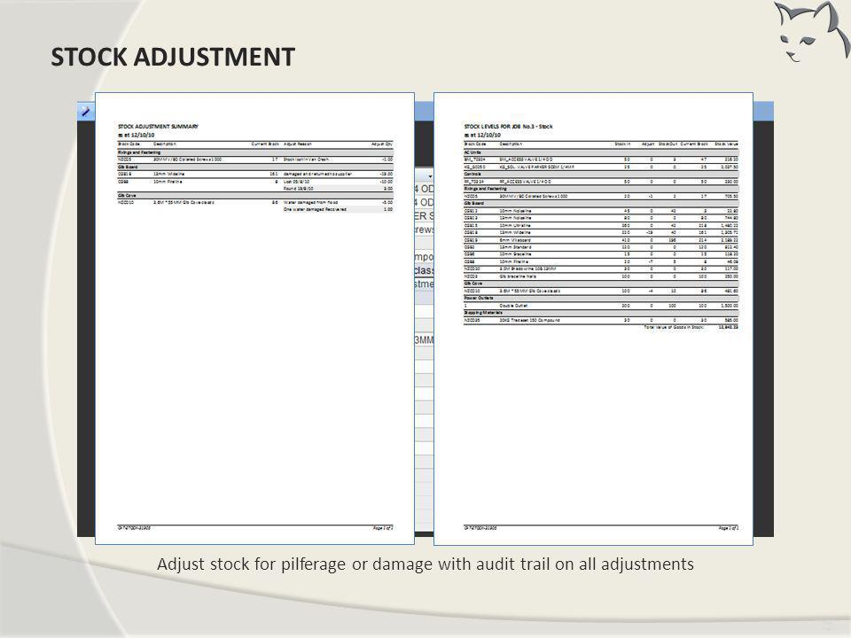 Tim ing Adjust stock for pilferage or damage with audit trail on all adjustments STOCK ADJUSTMENT
