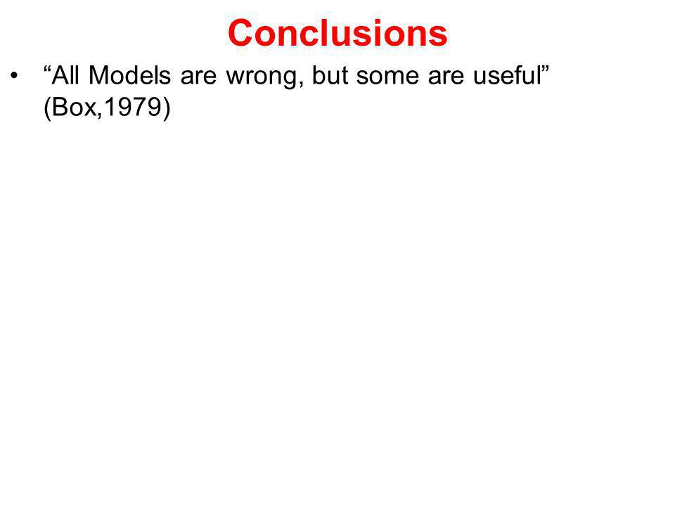 Conclusions All Models are wrong, but some are useful (Box,1979)