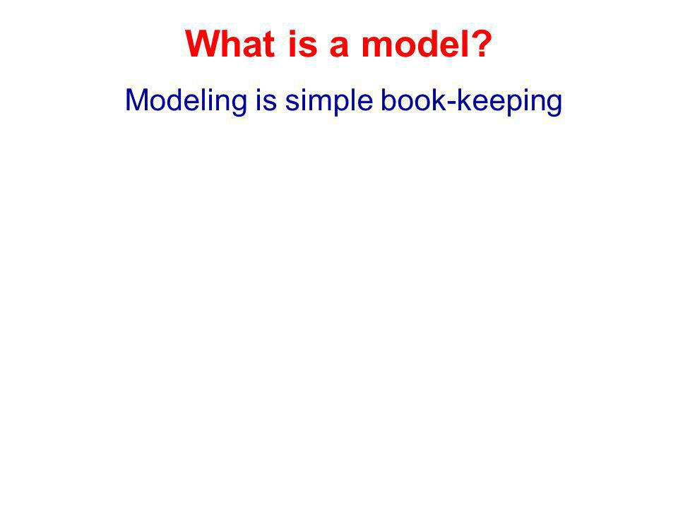 What is a model? Modeling is simple book-keeping