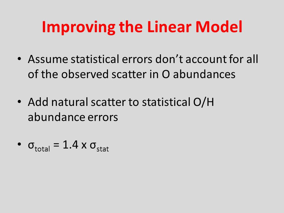 Improving the Linear Model Assume statistical errors dont account for all of the observed scatter in O abundances Add natural scatter to statistical O