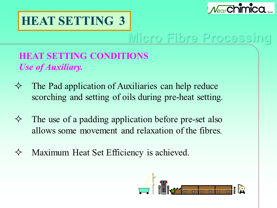 HEAT SETTING CONDITIONS Use of Auxiliary. HEAT SETTING 3 The Pad application of Auxiliaries can help reduce scorching and setting of oils during pre-h