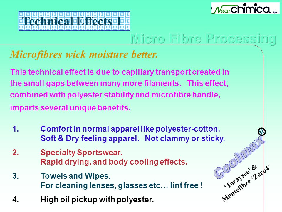 Technical Effects 1 Microfibres wick moisture better. This technical effect is due to capillary transport created in the small gaps between many more
