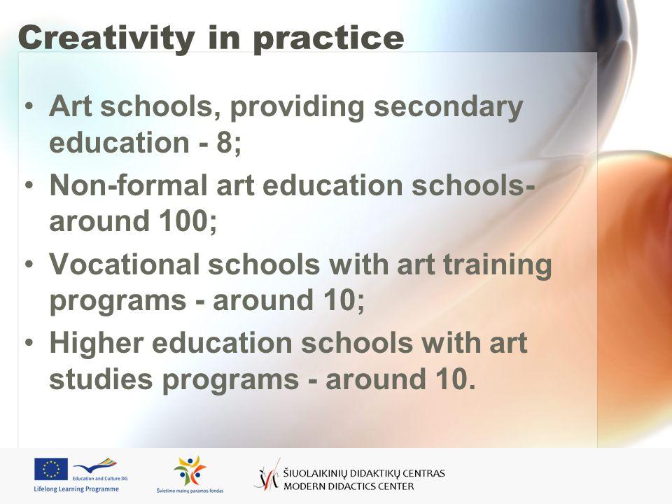 Creativity in practice Art schools, providing secondary education - 8; Non-formal art education schools- around 100; Vocational schools with art training programs - around 10; Higher education schools with art studies programs - around 10.