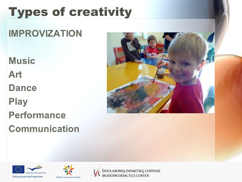 Types of creativity IMPROVIZATION Music Art Dance Play Performance Communication