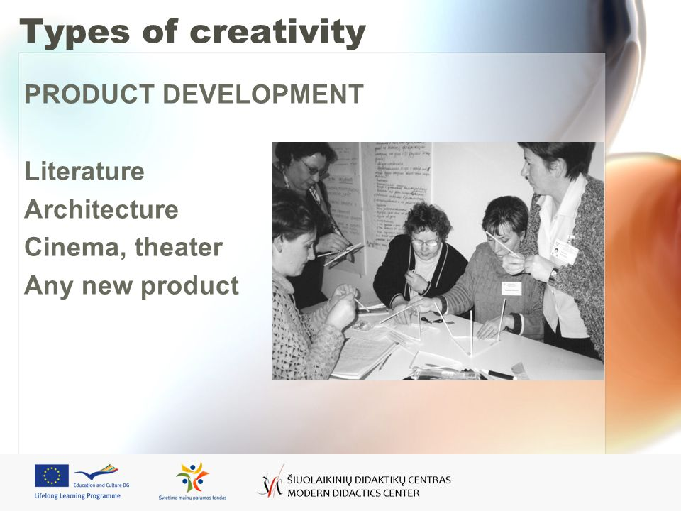 Types of creativity PRODUCT DEVELOPMENT Literature Architecture Cinema, theater Any new product