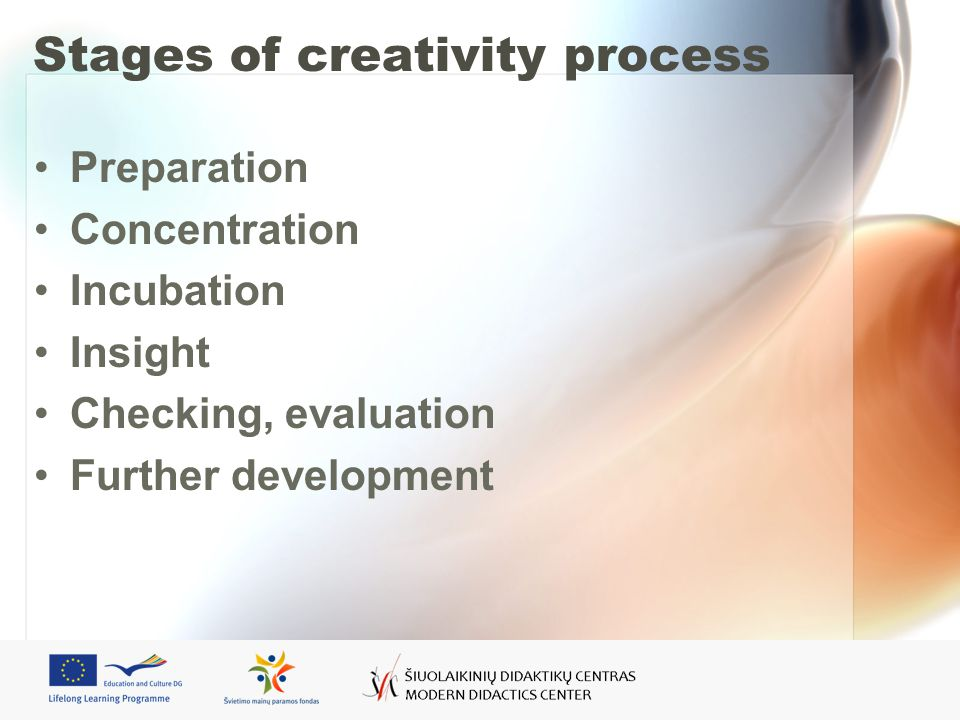 Stages of creativity process Preparation Concentration Incubation Insight Checking, evaluation Further development