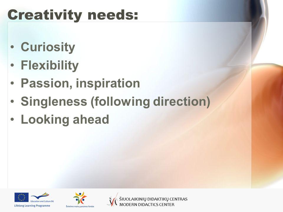Creativity needs: Curiosity Flexibility Passion, inspiration Singleness (following direction) Looking ahead