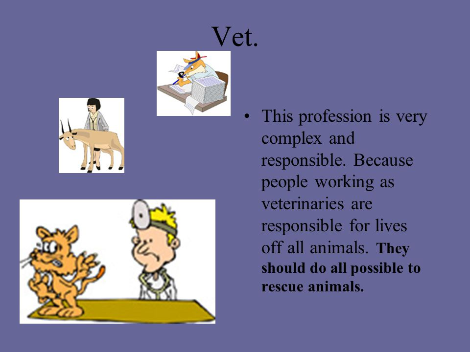 Vet.This profession is very complex and responsible.