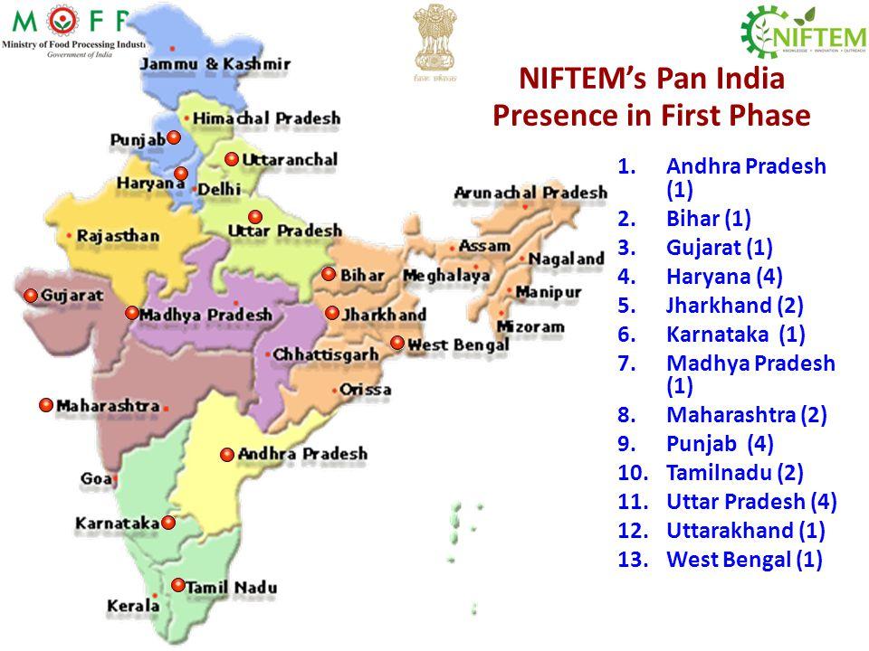 NIFTEMs Pan India Presence in First Phase 1.Andhra Pradesh (1) 2.Bihar (1) 3.Gujarat (1) 4.Haryana (4) 5.Jharkhand (2) 6.Karnataka (1) 7.Madhya Prades