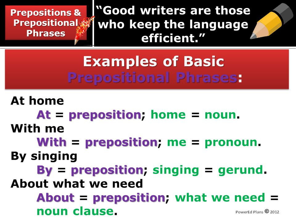 Examples of Basic Prepositional Phrases Examples of Basic Prepositional Phrases: Prepositions & Prepositional Phrases Good writers are those who keep