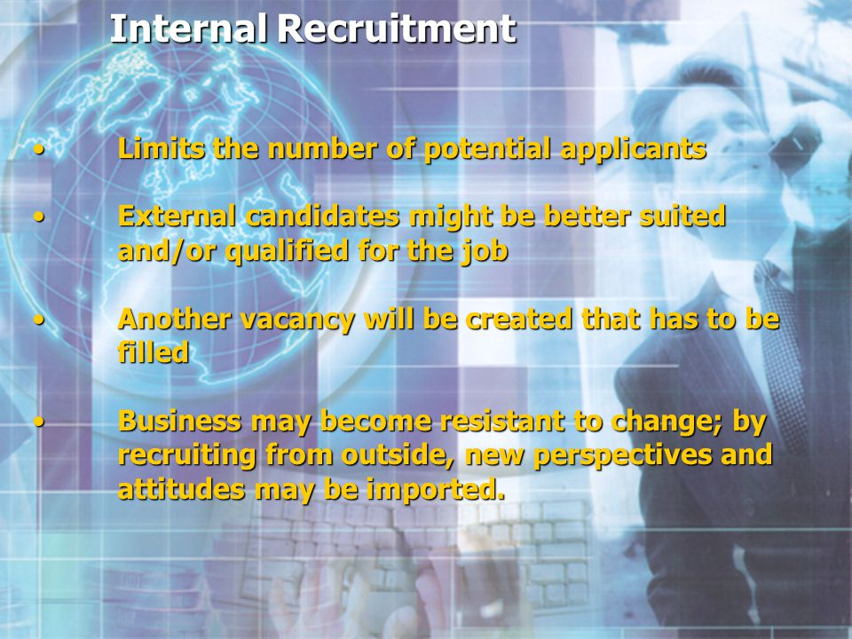 Internal Recruitment Internal Recruitment Limits the number of potential applicants Limits the number of potential applicants Limits the number of potential applicants Limits the number of potential applicants External candidates might be better suited and/or qualified for the job External candidates might be better suited and/or qualified for the job External candidates might be better suited and/or qualified for the job External candidates might be better suited and/or qualified for the job Another vacancy will be created that has to be filled Another vacancy will be created that has to be filled Another vacancy will be created that has to be filled Another vacancy will be created that has to be filled Business may become resistant to change; by recruiting from outside, new perspectives and attitudes may be imported.