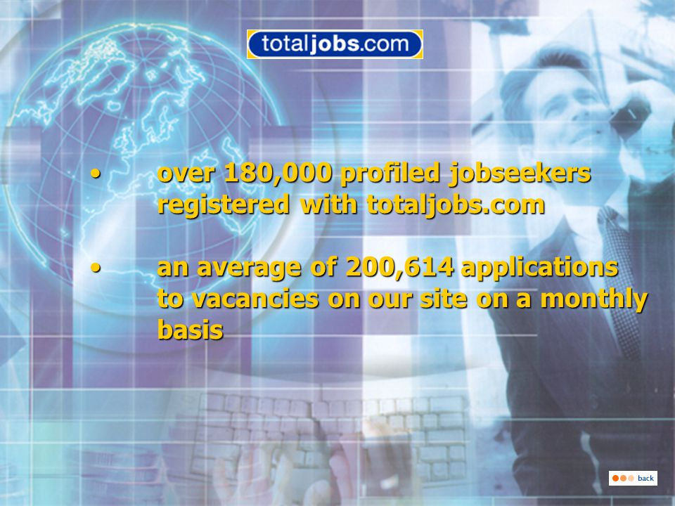 over 180,000 profiled jobseekers registered with totaljobs.com over 180,000 profiled jobseekers registered with totaljobs.com over 180,000 profiled jobseekers registered with totaljobs.com over 180,000 profiled jobseekers registered with totaljobs.com an average of 200,614 applications to vacancies on our site on a monthly basis an average of 200,614 applications to vacancies on our site on a monthly basis an average of 200,614 applications to vacancies on our site on a monthly basis an average of 200,614 applications to vacancies on our site on a monthly basis