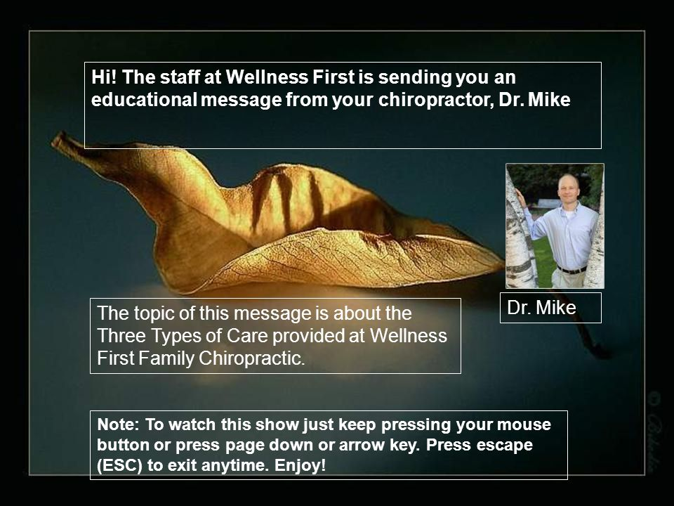 The topic of this message is about the Three Types of Care provided at Wellness First Family Chiropractic.