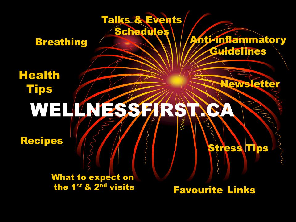 WELLNESSFIRST.CA What to expect on the 1 st & 2 nd visits Health Tips Anti-inflammatory Guidelines Newsletter Recipes Stress Tips Talks & Events Sched
