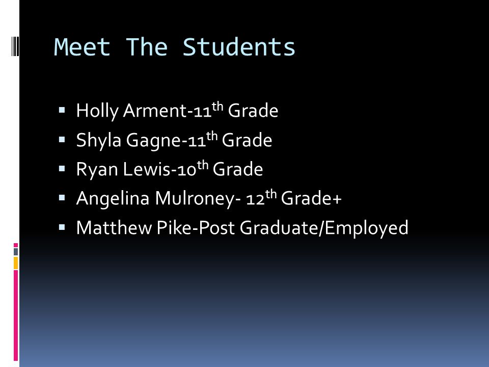 Meet The Students Holly Arment-11 th Grade Shyla Gagne-11 th Grade Ryan Lewis-10 th Grade Angelina Mulroney- 12 th Grade+ Matthew Pike-Post Graduate/Employed