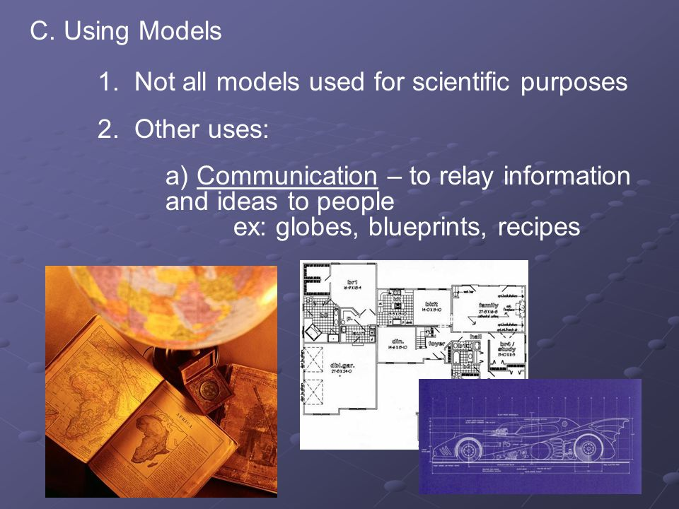 C. Using Models 1. Not all models used for scientific purposes 2. Other uses: a) Communication – to relay information and ideas to people ex: globes,