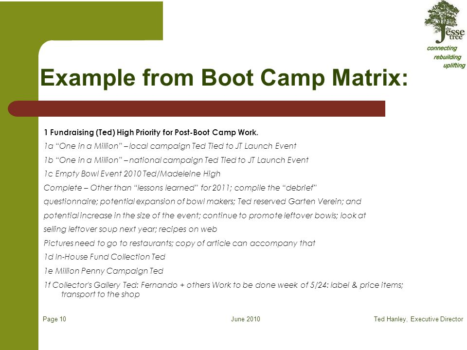 June 2010 Example from Boot Camp Matrix: 1 Fundraising (Ted) High Priority for Post-Boot Camp Work. 1a One in a Million – local campaign Ted Tied to J