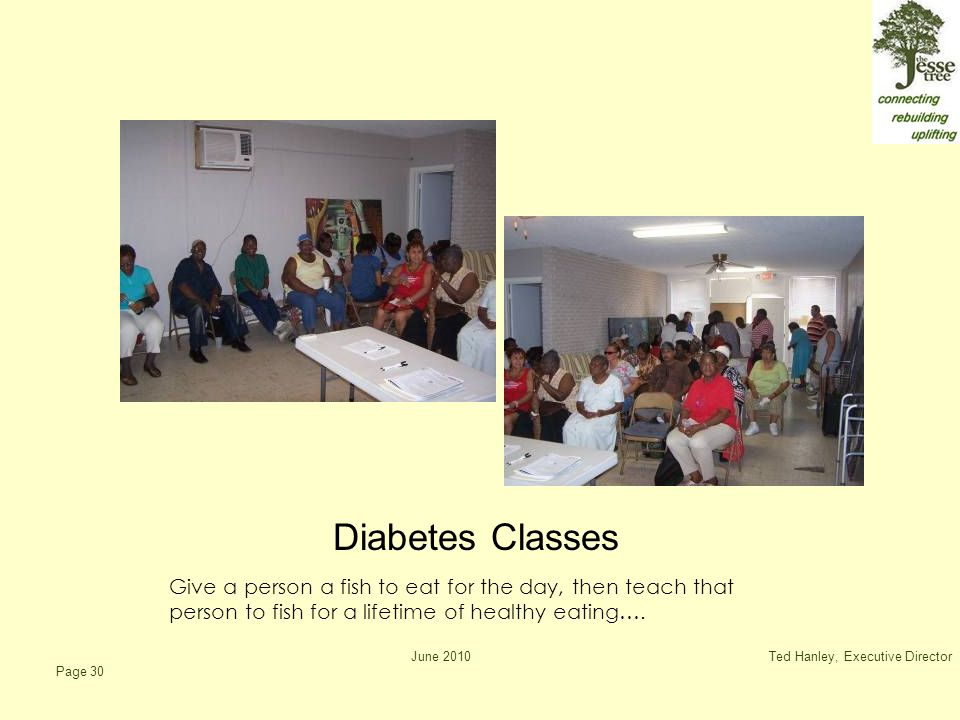 June 2010Ted Hanley, Executive Director Page 30 Diabetes Classes Give a person a fish to eat for the day, then teach that person to fish for a lifetime of healthy eating….
