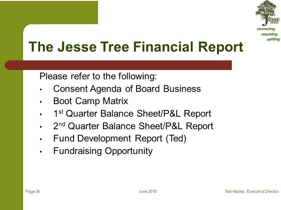 June 2010 The Jesse Tree Financial Report Please refer to the following: Consent Agenda of Board Business Boot Camp Matrix 1 st Quarter Balance Sheet/P&L Report 2 nd Quarter Balance Sheet/P&L Report Fund Development Report (Ted) Fundraising Opportunity Ted Hanley, Executive Director Page 34