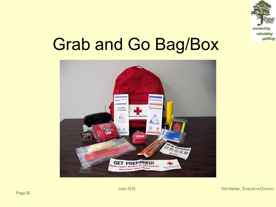 June 2010Ted Hanley, Executive Director Page 38 Grab and Go Bag/Box