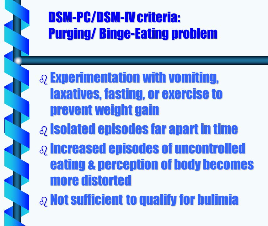 DSM-PC/DSM-IV criteria: Purging/ Binge-Eating problem b Experimentation with vomiting, laxatives, fasting, or exercise to prevent weight gain b Isolated episodes far apart in time b Increased episodes of uncontrolled eating & perception of body becomes more distorted b Not sufficient to qualify for bulimia