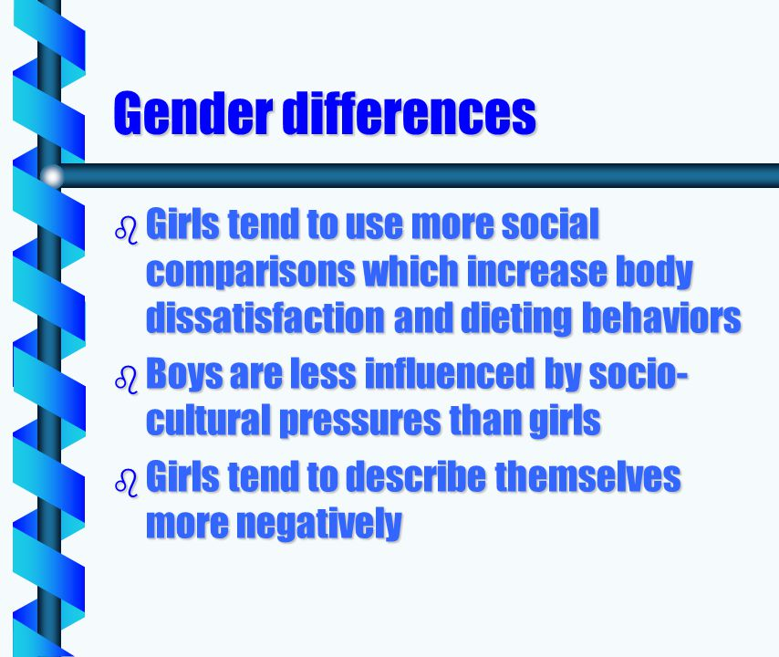 Gender differences b Girls tend to use more social comparisons which increase body dissatisfaction and dieting behaviors b Boys are less influenced by socio- cultural pressures than girls b Girls tend to describe themselves more negatively