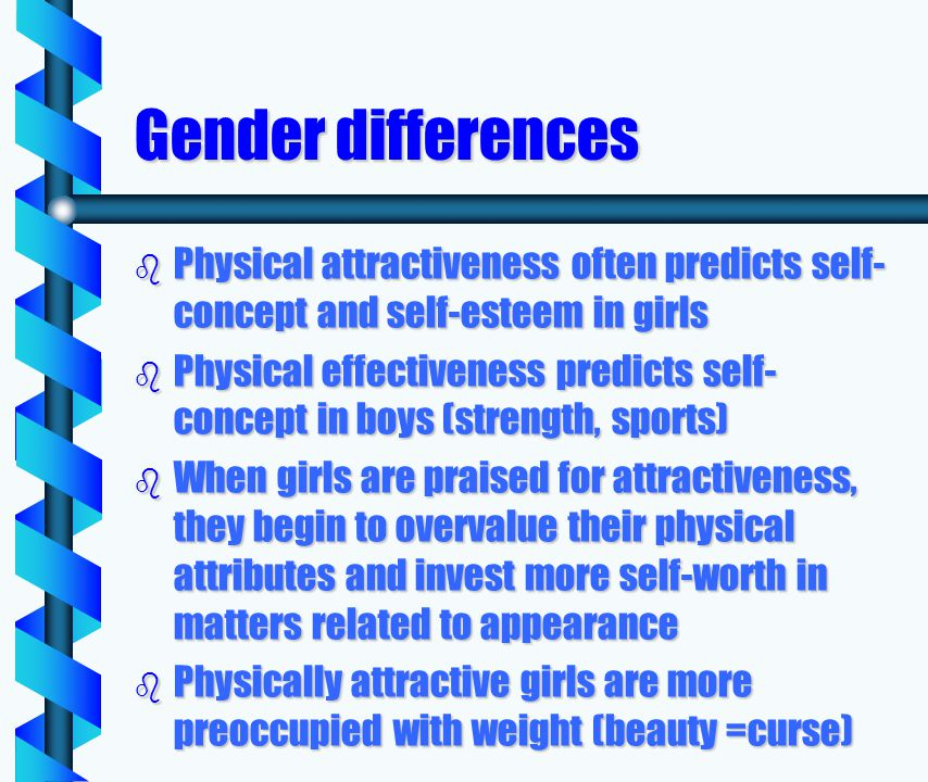 Gender differences b Physical attractiveness often predicts self- concept and self-esteem in girls b Physical effectiveness predicts self- concept in boys (strength, sports) b When girls are praised for attractiveness, they begin to overvalue their physical attributes and invest more self-worth in matters related to appearance b Physically attractive girls are more preoccupied with weight (beauty =curse)