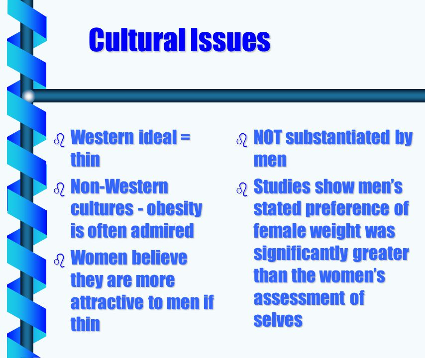 Cultural Issues b Western ideal = thin b Non-Western cultures - obesity is often admired b Women believe they are more attractive to men if thin b NOT substantiated by men b Studies show mens stated preference of female weight was significantly greater than the womens assessment of selves