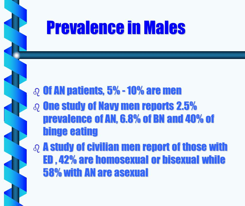 Prevalence in Males b Of AN patients, 5% - 10% are men b One study of Navy men reports 2.5% prevalence of AN, 6.8% of BN and 40% of binge eating b A study of civilian men report of those with ED, 42% are homosexual or bisexual while 58% with AN are asexual
