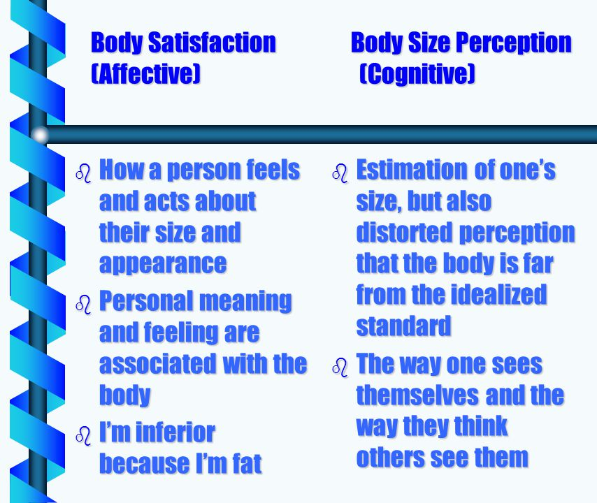 Body Satisfaction Body Size Perception (Affective)(Cognitive) b How a person feels and acts about their size and appearance b Personal meaning and feeling are associated with the body b Im inferior because Im fat b Estimation of ones size, but also distorted perception that the body is far from the idealized standard b The way one sees themselves and the way they think others see them