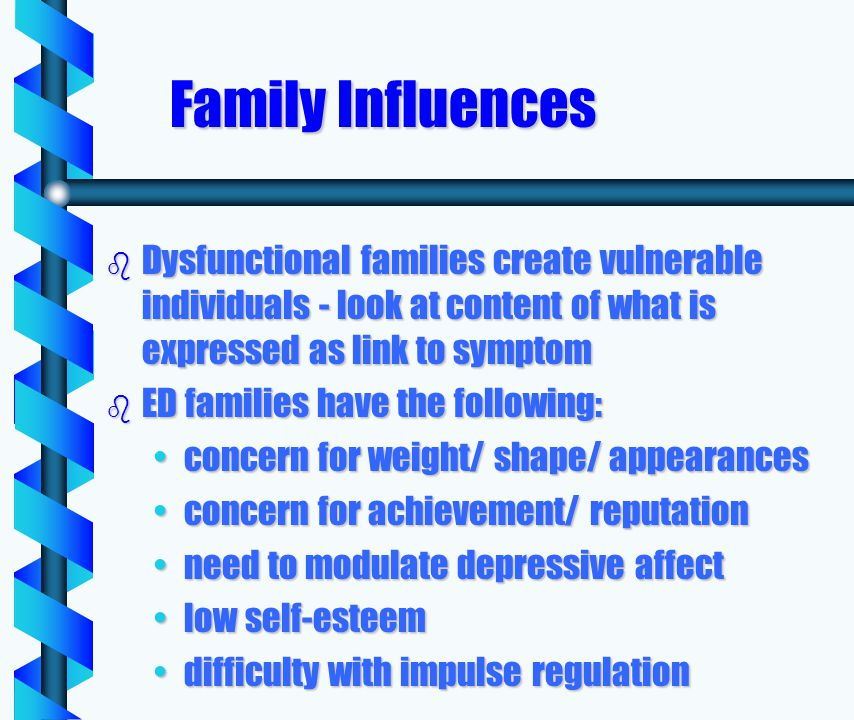 Family Influences b Dysfunctional families create vulnerable individuals - look at content of what is expressed as link to symptom b ED families have the following: concern for weight/ shape/ appearancesconcern for weight/ shape/ appearances concern for achievement/ reputationconcern for achievement/ reputation need to modulate depressive affectneed to modulate depressive affect low self-esteemlow self-esteem difficulty with impulse regulationdifficulty with impulse regulation