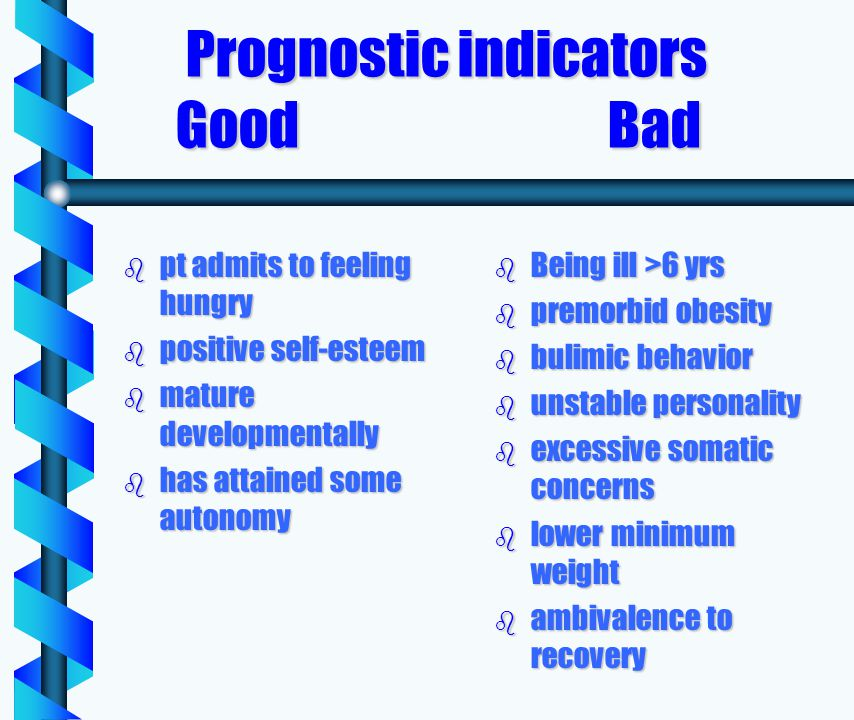 Prognostic indicators Good Bad Prognostic indicators Good Bad b pt admits to feeling hungry b positive self-esteem b mature developmentally b has attained some autonomy b Being ill >6 yrs b premorbid obesity b bulimic behavior b unstable personality b excessive somatic concerns b lower minimum weight b ambivalence to recovery