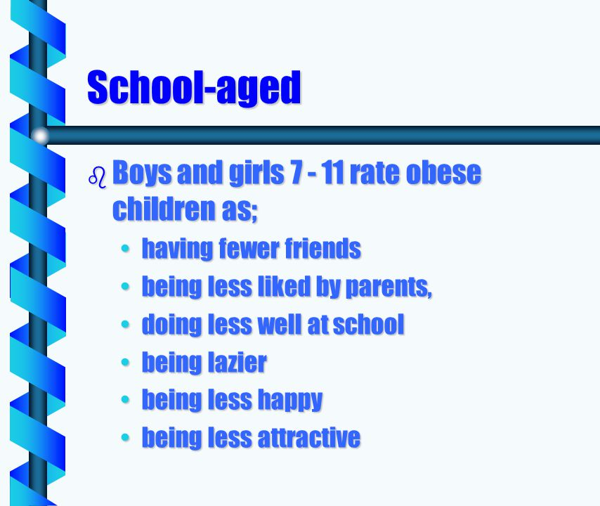 School-aged b Boys and girls 7 - 11 rate obese children as; having fewer friendshaving fewer friends being less liked by parents,being less liked by parents, doing less well at schooldoing less well at school being lazierbeing lazier being less happybeing less happy being less attractivebeing less attractive