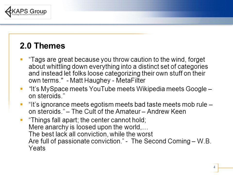 4 2.0 Themes Tags are great because you throw caution to the wind, forget about whittling down everything into a distinct set of categories and instead let folks loose categorizing their own stuff on their own terms. - Matt Haughey - MetaFilter Its MySpace meets YouTube meets Wikipedia meets Google – on steroids.