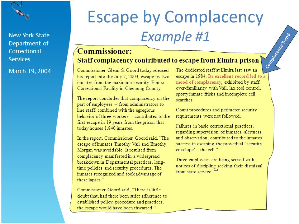 Escape by Complacency Example #1 Complacency Trend New York State Department of Correctional Services March 19, 2004 The dedicated staff at Elmira las