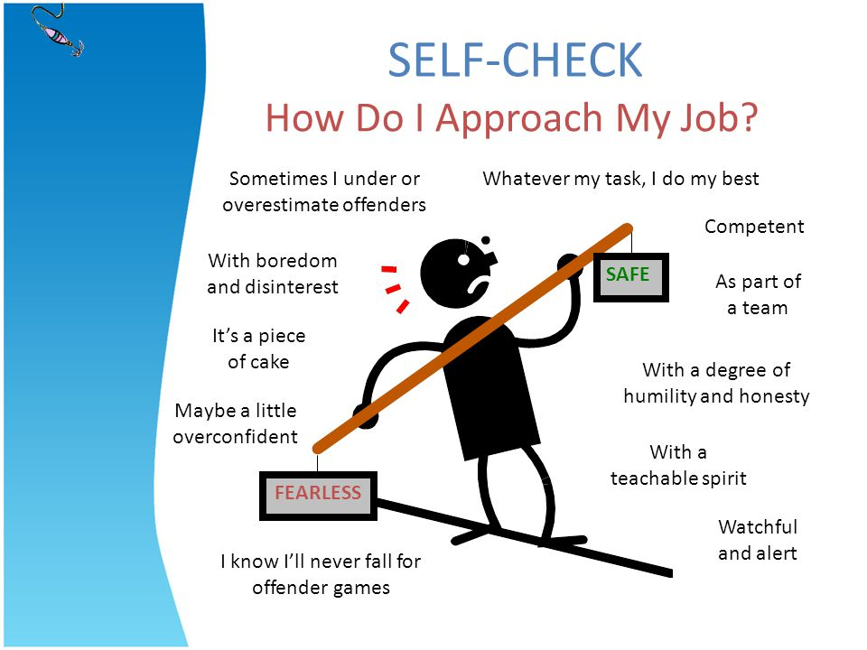 How Do I Approach My Job? I know Ill never fall for offender games SELF-CHECK With a degree of humility and honesty Sometimes I under or overestimate