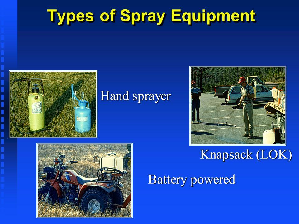 Types of Spray Equipment Hand sprayer Knapsack (LOK) Battery powered