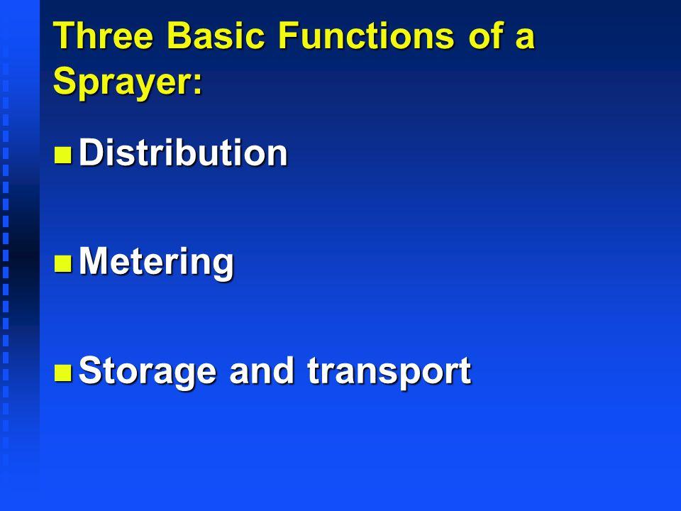 Three Basic Functions of a Sprayer: n Distribution n Metering n Storage and transport