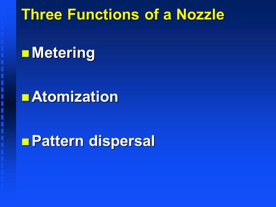 Three Functions of a Nozzle n Metering n Atomization n Pattern dispersal