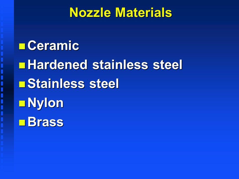 Nozzle Materials n Ceramic n Hardened stainless steel n Stainless steel n Nylon n Brass