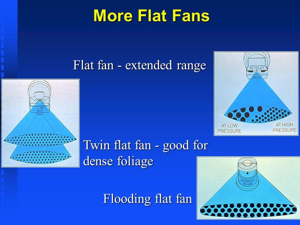 More Flat Fans Flat fan - extended range Twin flat fan - good for dense foliage Flooding flat fan