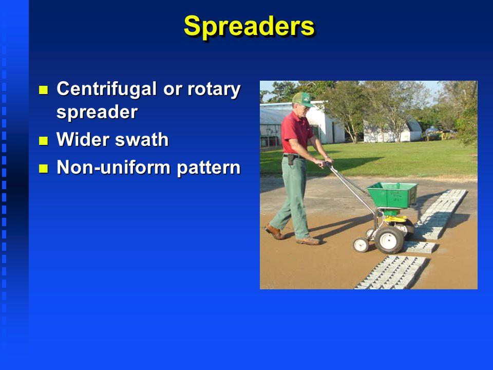SpreadersSpreaders n Centrifugal or rotary spreader n Wider swath n Non-uniform pattern