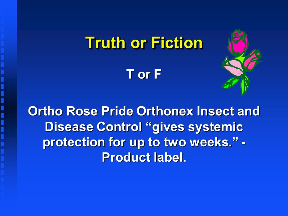 Truth or Fiction T or F Ortho Rose Pride Orthonex Insect and Disease Control gives systemic protection for up to two weeks. - Product label.